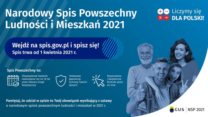 Infografika o Narodowym Spisie Powszechnym Ludności i Mieszkań 2021